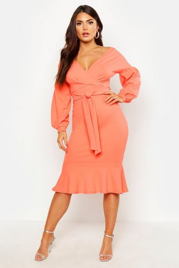 Womens Coral Off The Shoulder Frill Hem Midi Dress