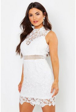 Womens Ivory Lace Scallop High Neck Bodycon Dress