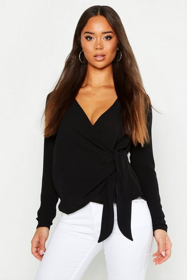 Womens Black Wrap Over Tie Side Blouse