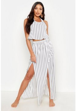 Womens White Pinstripe Bandeau Maxi Skirt Beach Co Ord