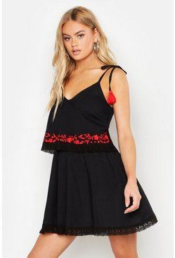 Womens Black Embroidered Pom Pom Trim Double Layer Smock Dress