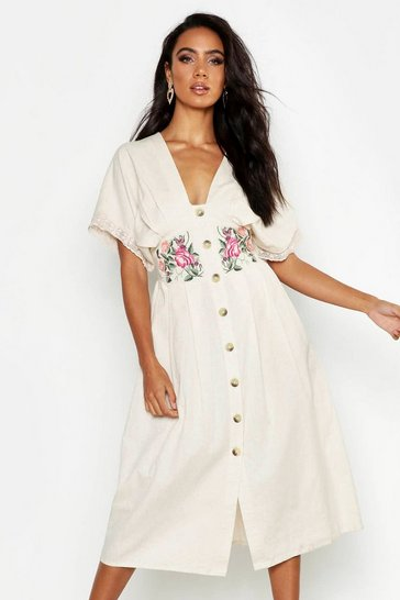 Womens Cream Embroidered Linen Button Front Midi Dress