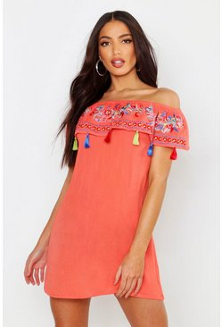 Womens Coral Bohemian Embroidered Off The Shoulder Dress