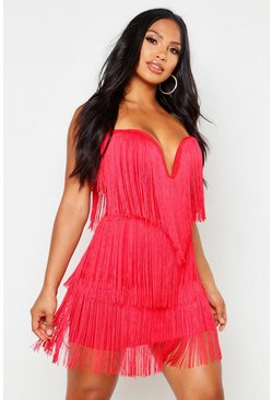 Womens Red Tassel Mini Dress