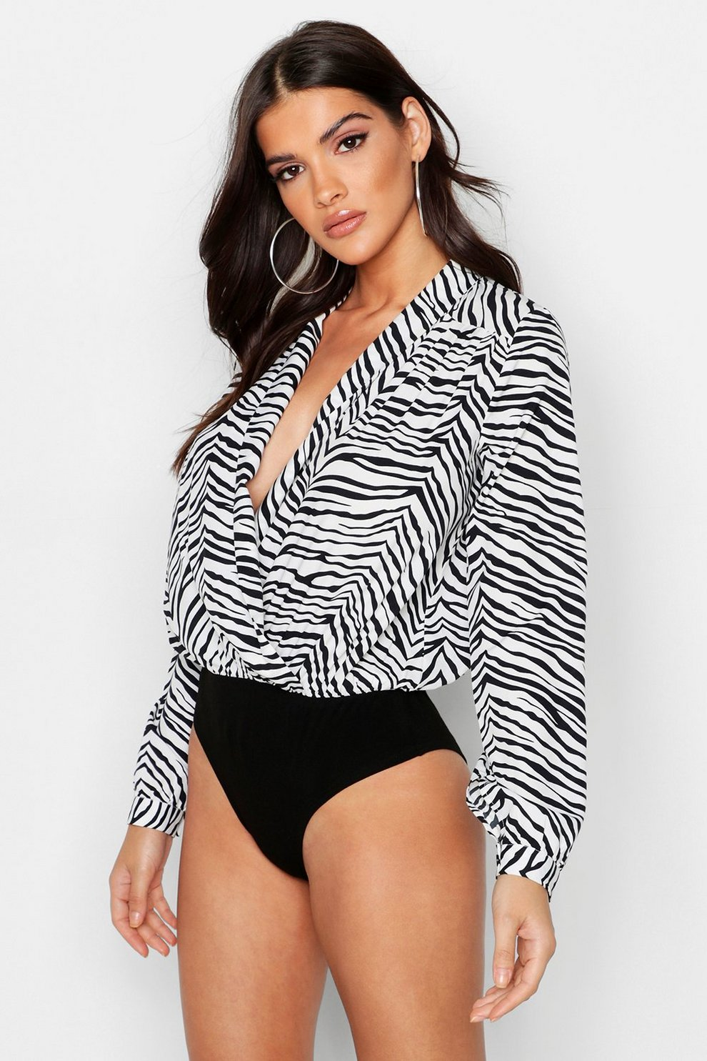 2dbc1ee1e166 Womens Black Zebra Woven Wrap Bodysuit. Hover to zoom