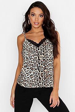 Leopard Print Lace Trim Woven Cami Top