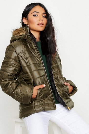 Womens Khaki Faux Fur Hooded Cire Panelled Jacket