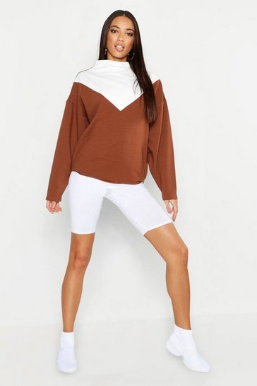 Womens Camel Funnel Neck Colour Block