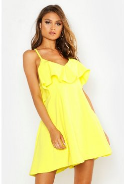 Womens Yellow Ruffle Low Back Skater Dress
