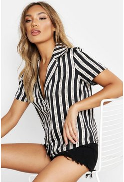 Womens Black Don't Look Back Stripe Revere Collar Bowling Shirt