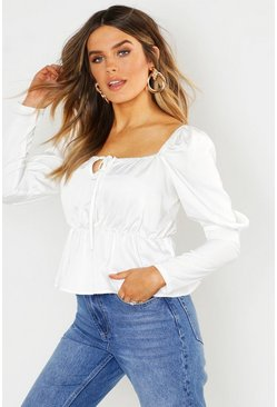 Womens Ivory Square Neck Peasant Peplum Top
