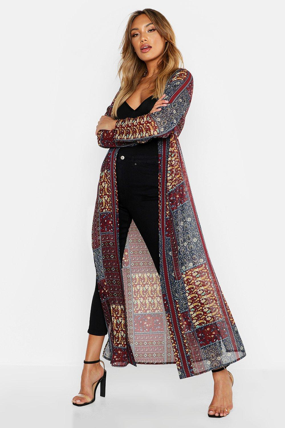 70s Outfits – 70s Style Ideas for Women Womens Woven Paisley Longline Kimono - Red - 12 $17.50 AT vintagedancer.com