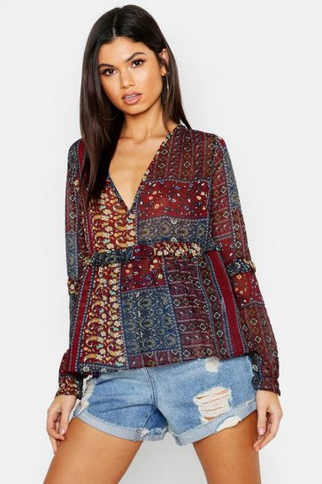 Womens Wine Woven Paisley Smock Top