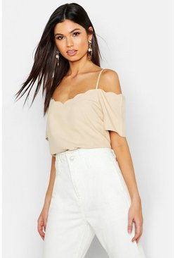 Ecru Scallop Edge Cold Shoulder Cami