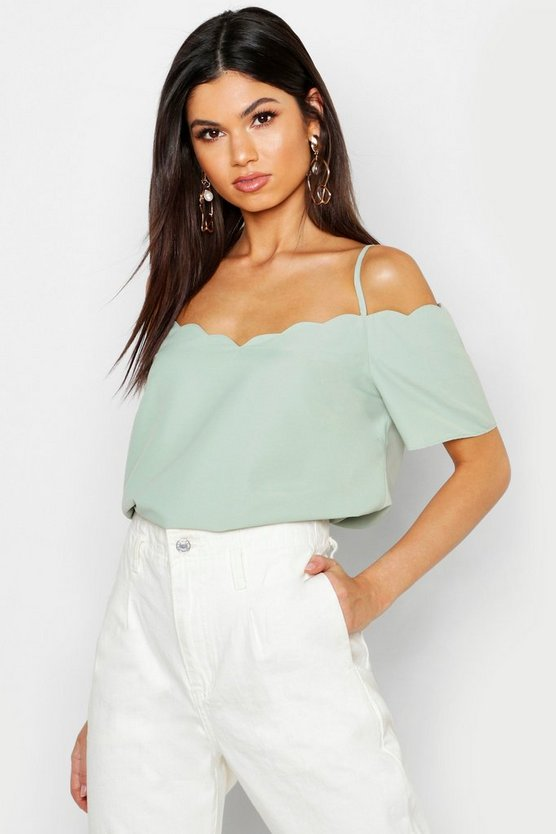 Womens Sage Scallop Edge Cold Shoulder Cami