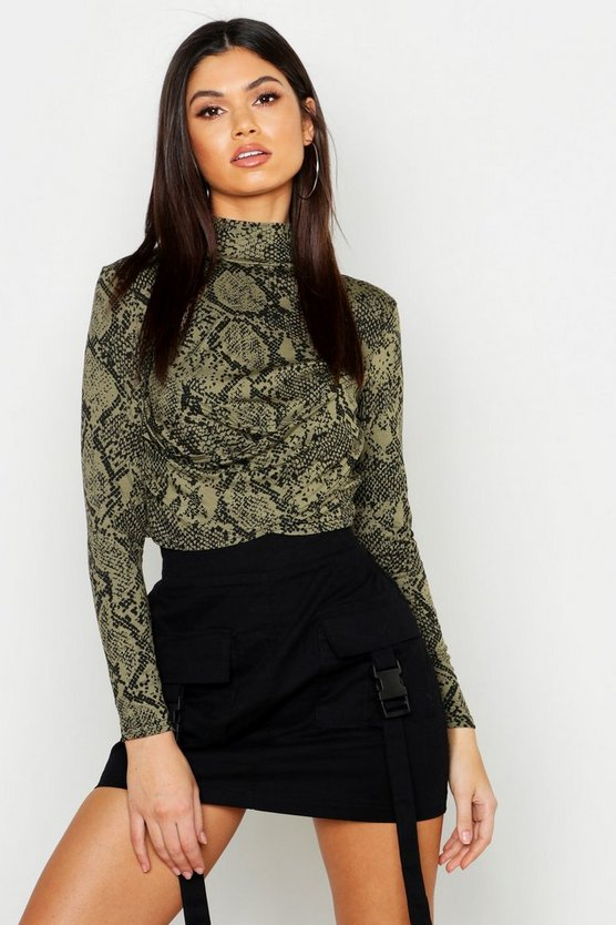 Womens Khaki Snake High Neck Wrap Crop