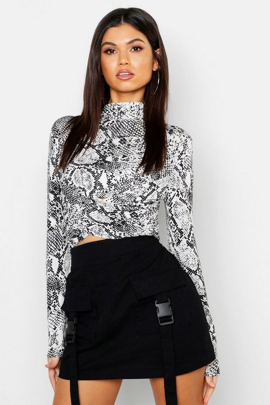 Womens White Snake High Neck Wrap Crop