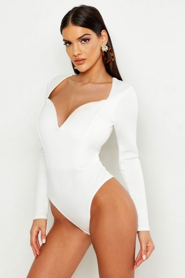 Womens White Deep Plunge Long Sleeve Bodysuit