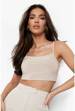 Womens Nude Double Layer Slinky Bralet