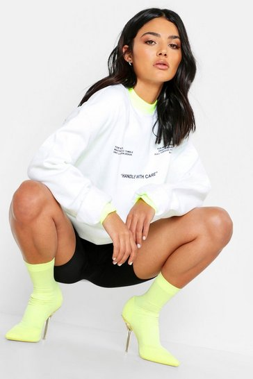 Womens White Care Label Print Oversized Sweat
