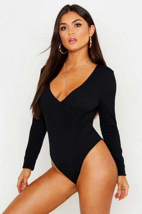 Black Basic Wrap Front Long Sleeve Bodysuit