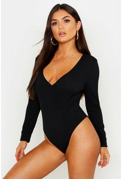 Womens Black Basic Wrap Front Long Sleeve Bodysuit