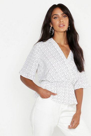 Womens White Woven Polka Dot Angel Sleeve Blouse