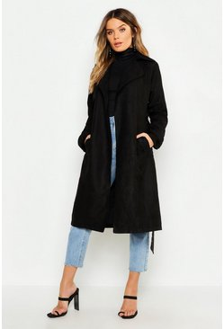 Womens Black Faux Suede Trench Coat