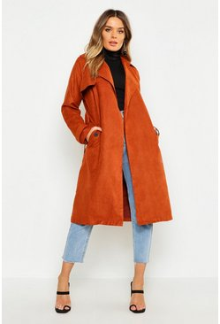 Womens Tan Faux Suede Trench Coat