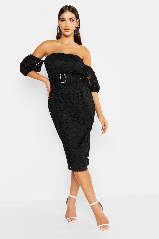 Lace Off The Shoulder Belted Midi Dress, Black