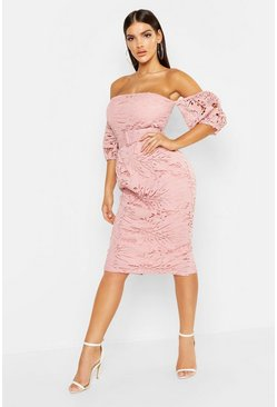 Womens Blush Lace Off The Shoulder Belted Midi Dress