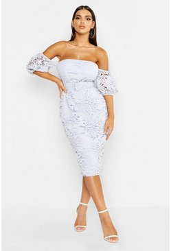 Womens Sky Lace Off The Shoulder Belted Midi Dress