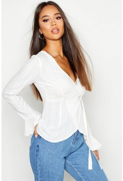 Womens White Wrap Around O Ring Detail Blouse