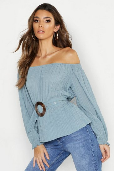 Womens Dusty blue Oversized Wood Effect Buckle Ruched Bardot Top