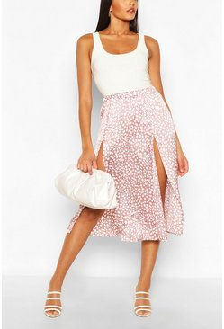 Mink Double Split Printed Satin Midaxi Skirt