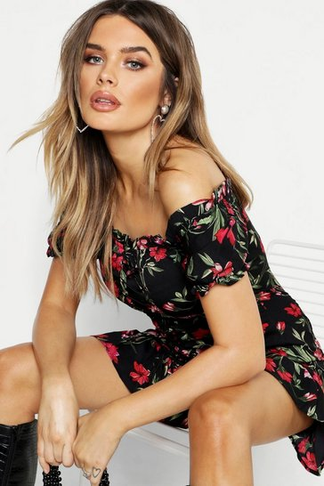 Womens Black Floral Chiffon Off The Shoulder Mini Dress