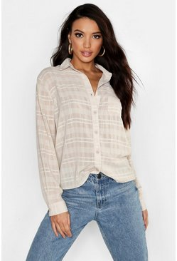 Womens Ecru Sheer Check Linen Feel Shirt