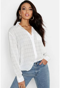 Womens White Sheer Check Linen Feel Shirt