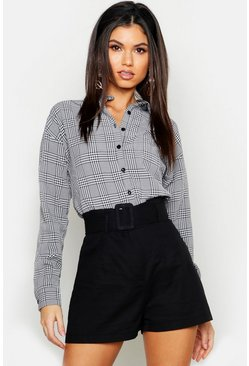Womens Black Gingham Check Shirt