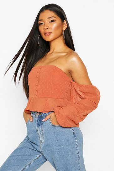 Womens Rust Dobby Spot Off Shoulder Long Sleeve Crop Top