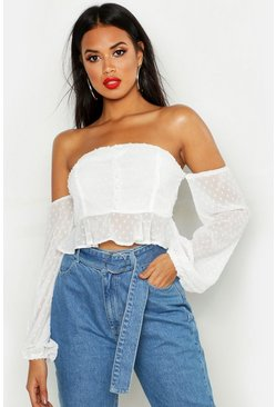 Womens White Dobby Spot Off Shoulder Long Sleeve Crop Top