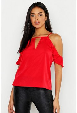 Womens Red Ruffle Detail Cold Shoulder Top