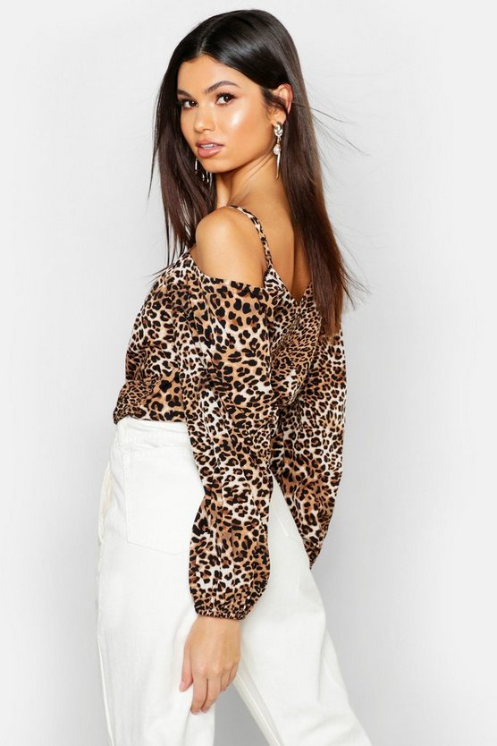 Leopard Print Cold Shoulder Long Sleeve Top