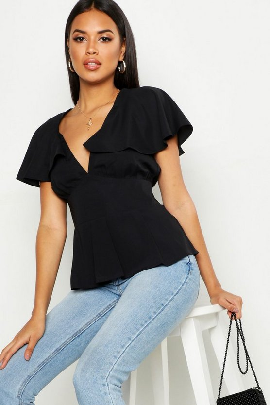 Plunge Front Angel Sleeve Peplum Top