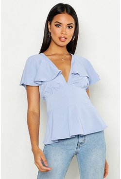 Womens Sky Plunge Front Angel Sleeve Peplum Top