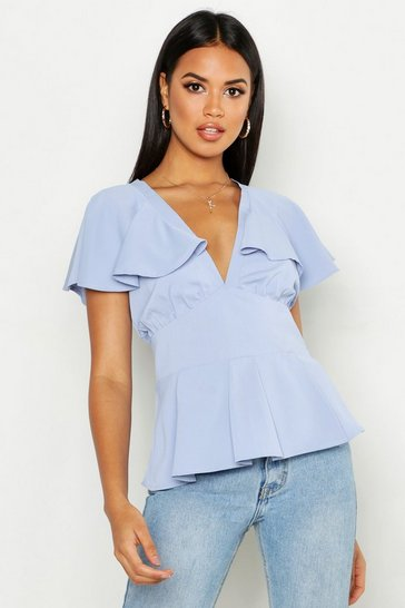 Sky Plunge Front Angel Sleeve Peplum Top