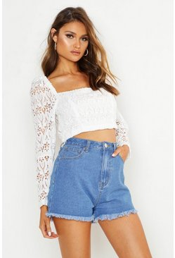 Womens White Premium Corded Lace Long Sleeve Crop Top