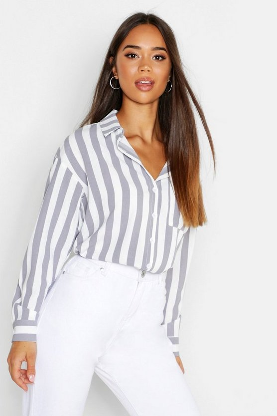 Womens White Stripe Pocket Long Sleeve Shirt
