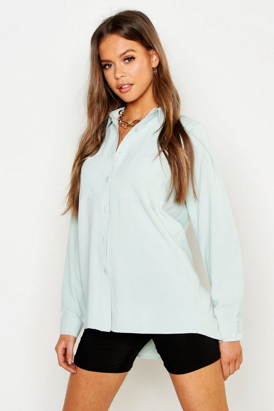Womens Sage Seam Detail Oversized Cotton Feel Shirt