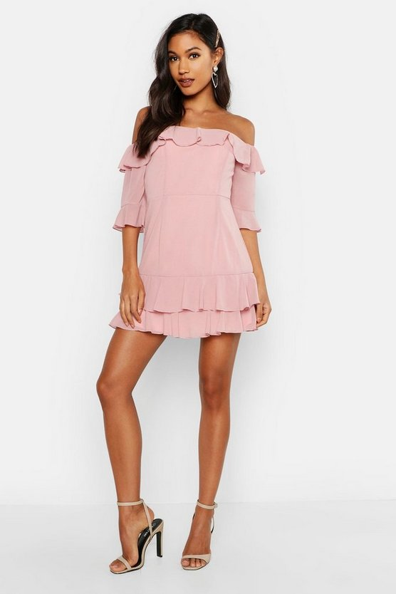 Womens Blush Chiffon Ruffle Off The Shoulder Mini Dress